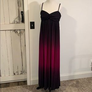 Bison Bisou Magenta Ombré Maxi Dress Sz 16